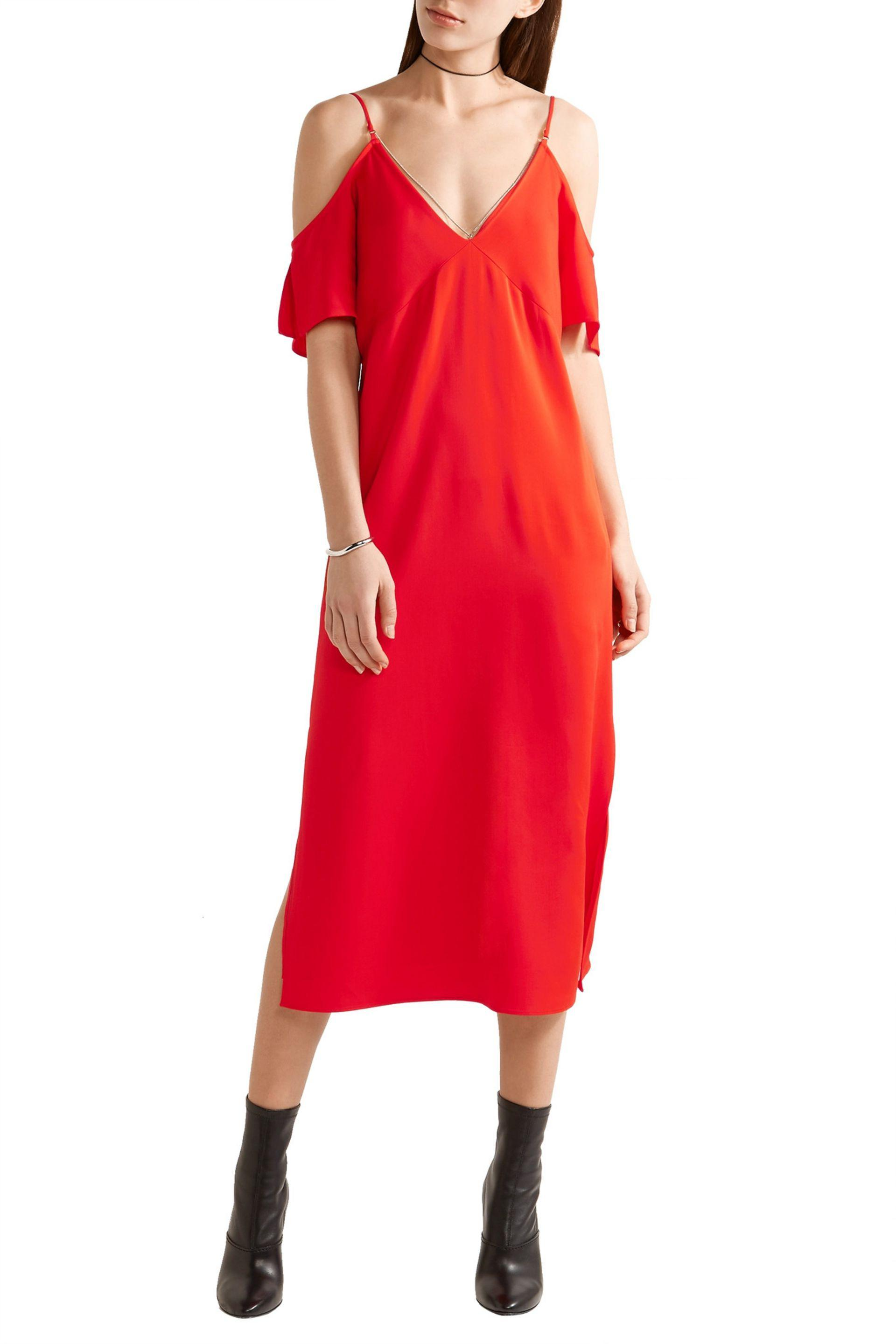 T By Alexander Wang Woman Off-the-shoulder Chain-embellished Stretch-crepe Midi Dress Red Size 4 Alexander Wang 9Qoeta6Q