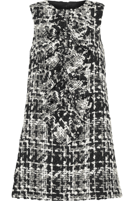 58027ad747836d Dolce   Gabbana. Women s Black Woman Ruffled Wool-blend Bouclé-tweed Mini  Dress Anthracite
