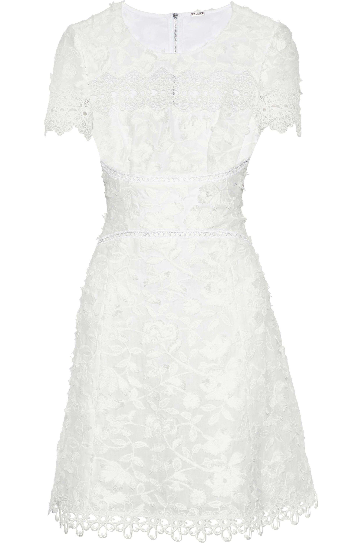 724df69c8a90 Elie Tahari - Woman Adina Guipure Lace-paneled Embroidered Ramie Mini Dress  White - Lyst. View fullscreen