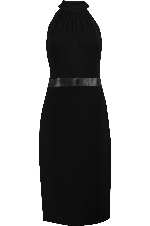 Ruffle-trimmed Wool-blend Crepe Dress - Black Michael Kors sp0VM