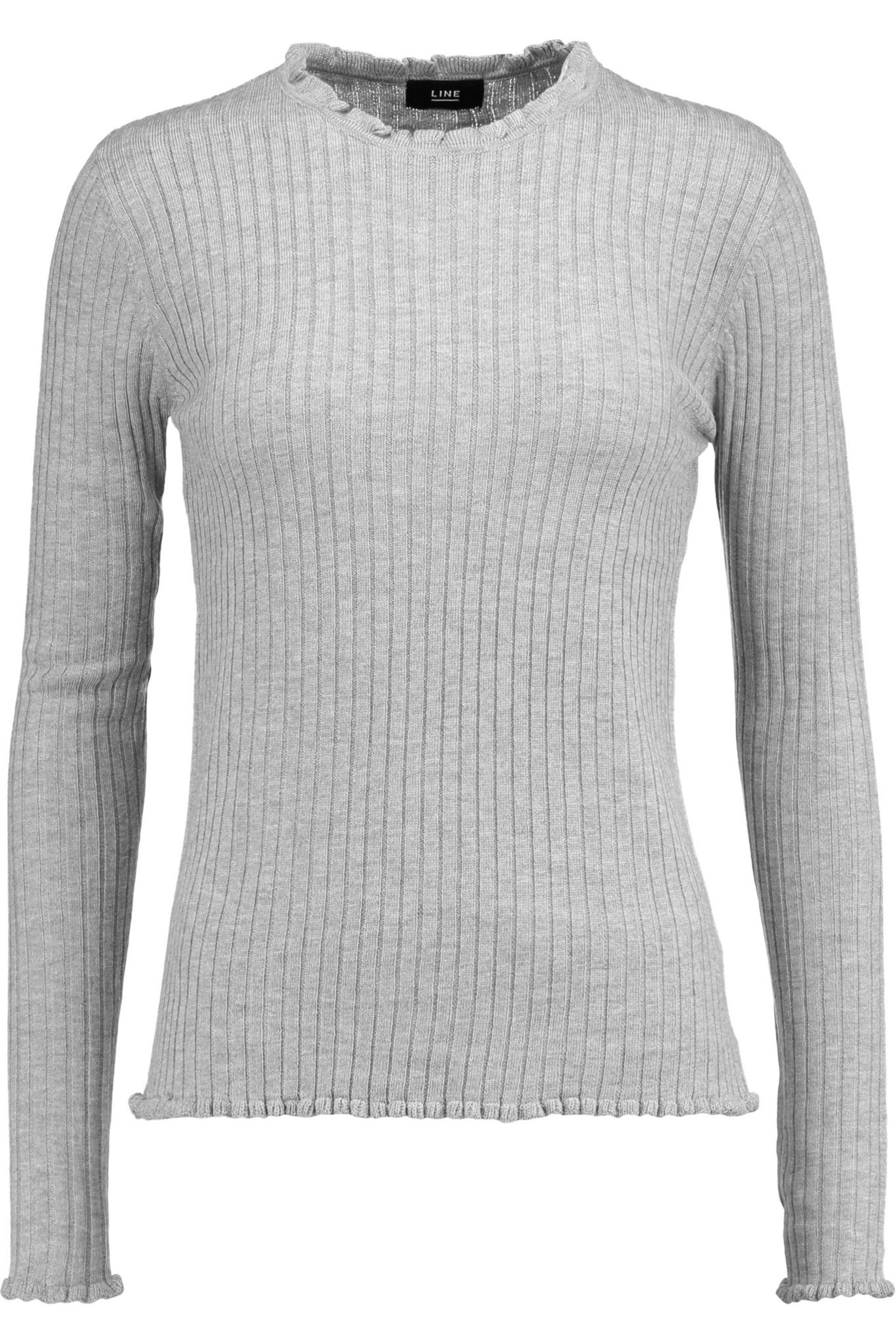 Line Woman Ruffle-trimmed Ribbed-knit Sweater Gray Size XS Line New For Sale Really Clearance High Quality rEfyoOI