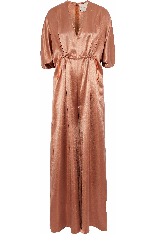 74452d3b309 Roksanda Gathered Silk-satin Jumpsuit in Brown - Lyst