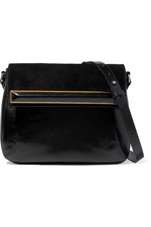 84d71fd3ac Halston Heritage Embellished Suede-paneled Patent-leather Shoulder ...