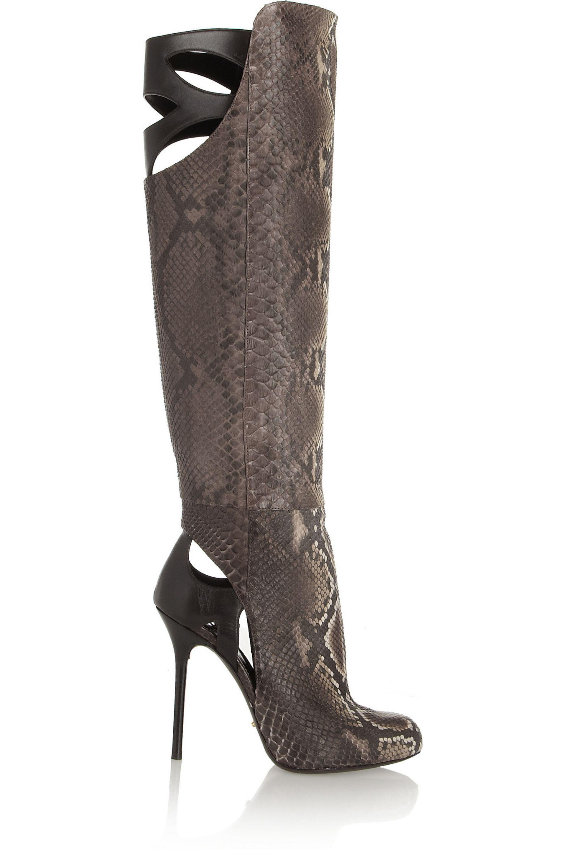 00e45c821c0 Sergio Rossi Cutout Python And Leather Knee Boots in Brown - Lyst