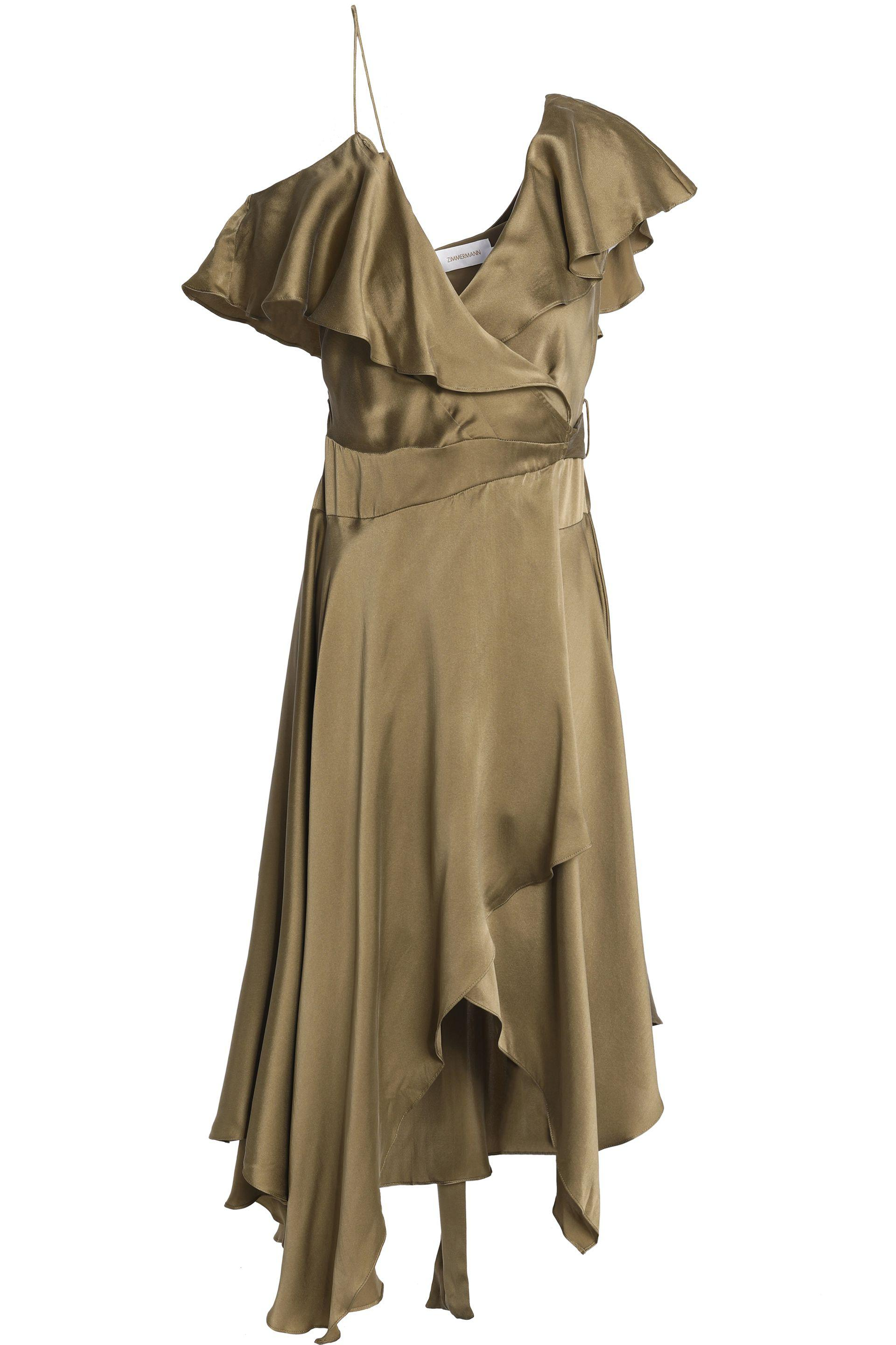 Zimmermann Woman Belted Floral-print Silk Crepe De Chine Midi Dress Army Green Size 0 Zimmermann Outlet The Cheapest 9pth8