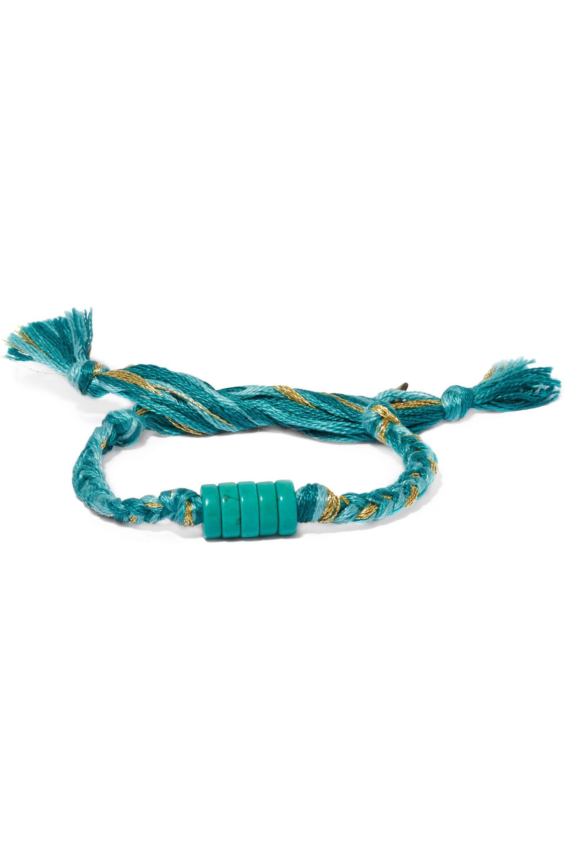 Tag Gold-plated, Enamel And Cotton Bracelet - Turquoise Arme De L'Amour