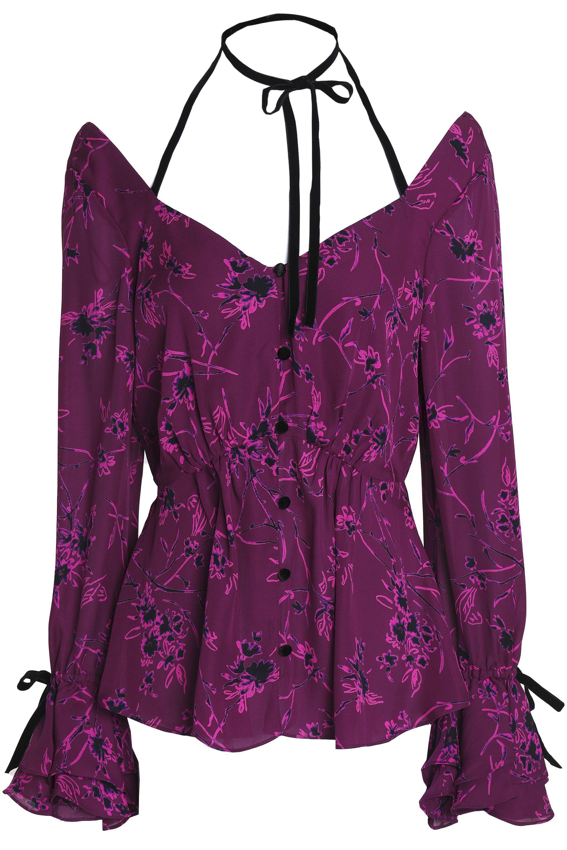 Cinq À Sept Woman Pussy-bow Floral-print Silk Halterneck Top Violet Size M Cinq à Sept Footlocker Pictures Sale Online Cheap Discount Sale Genuine For Sale Discount Footlocker Pictures Clearance For Nice 4fLPgT8