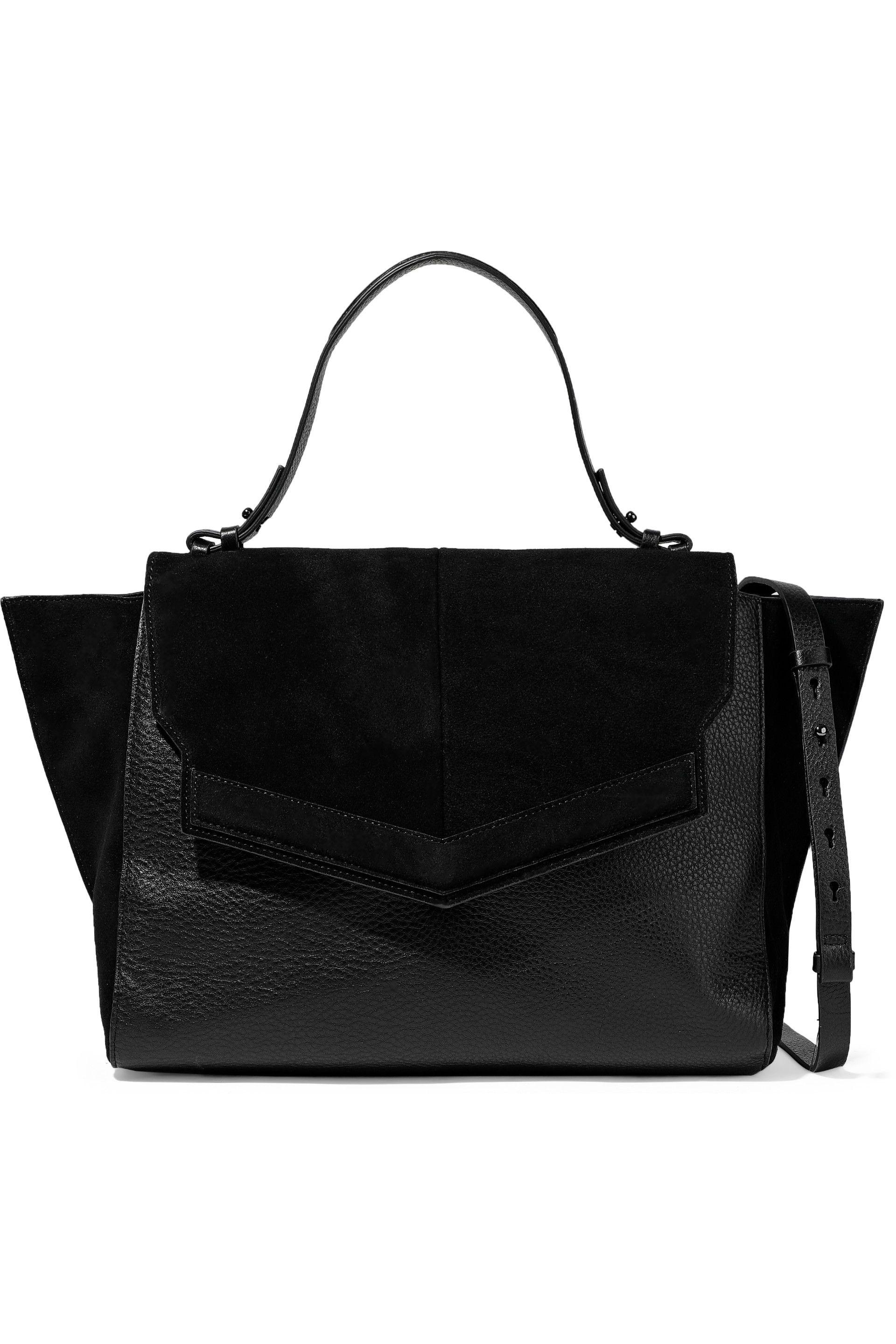 83b632599e30 Halston Suede And Pebbled-leather Shoulder Bag in Black - Lyst