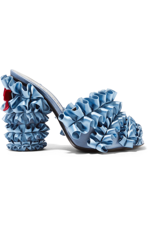 Marco De Vincenzo. Women's Velvet-trimmed Ruffled Satin Mules Light Blue