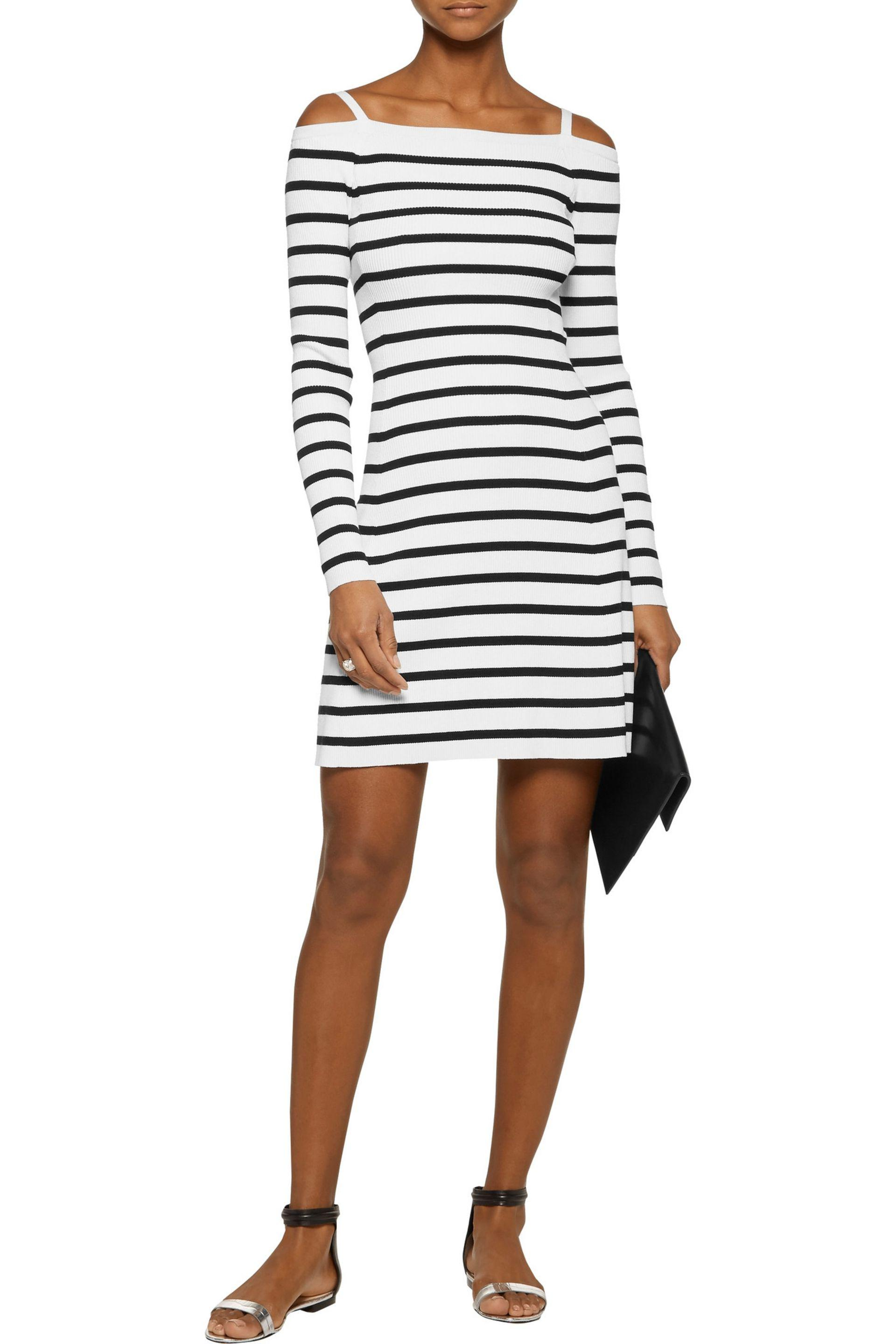 Theory Woman Pirellia Cold-shoulder Striped Ribbed-knit Mini Dress White Size S Theory nnEGHd1zI4