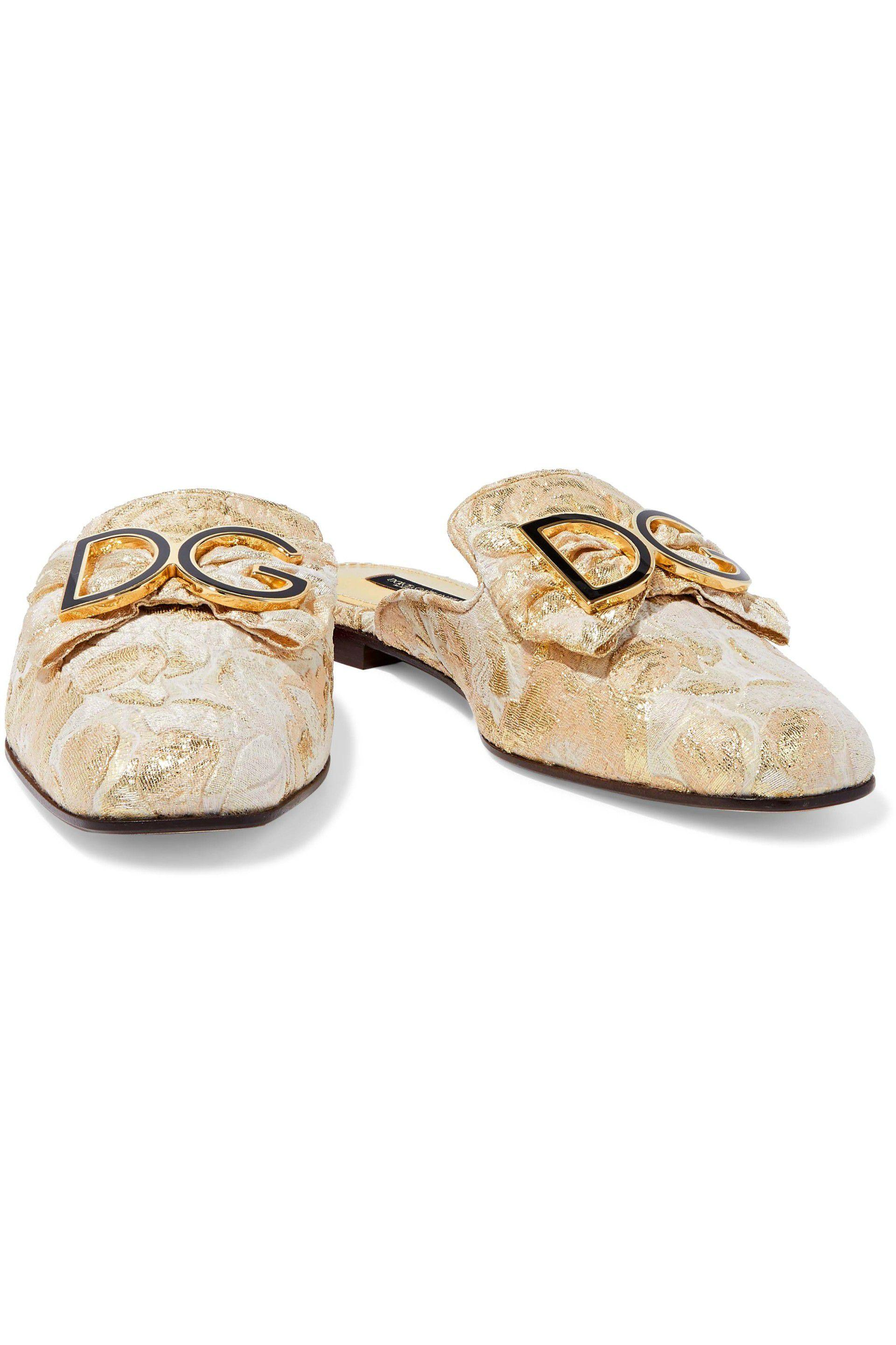 3c9e203f9270e0 Lyst - Dolce   Gabbana Woman Bow-embellished Brocade Slippers Gold ...