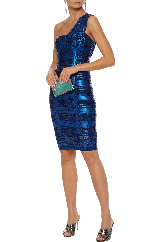 9d04eb31740 ... Hervé Léger Woman One-shoulder Metallic Printed Bandage Dress Bright  Blue -. View fullscreen