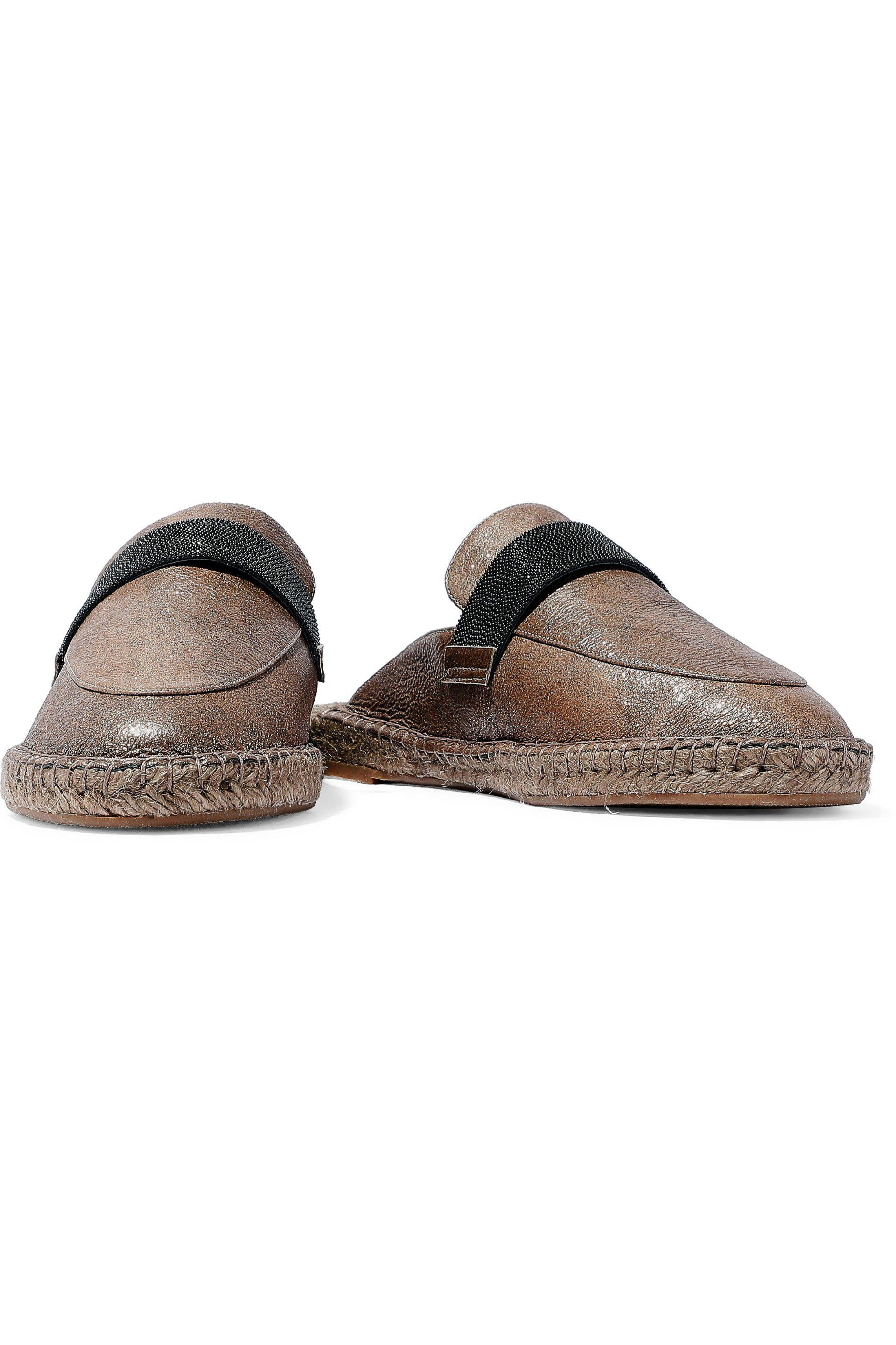 fee919d1db brunello-cucinelli-Brown-Woman-Bead-embellished-Leather-Slippers-Brown.jpeg