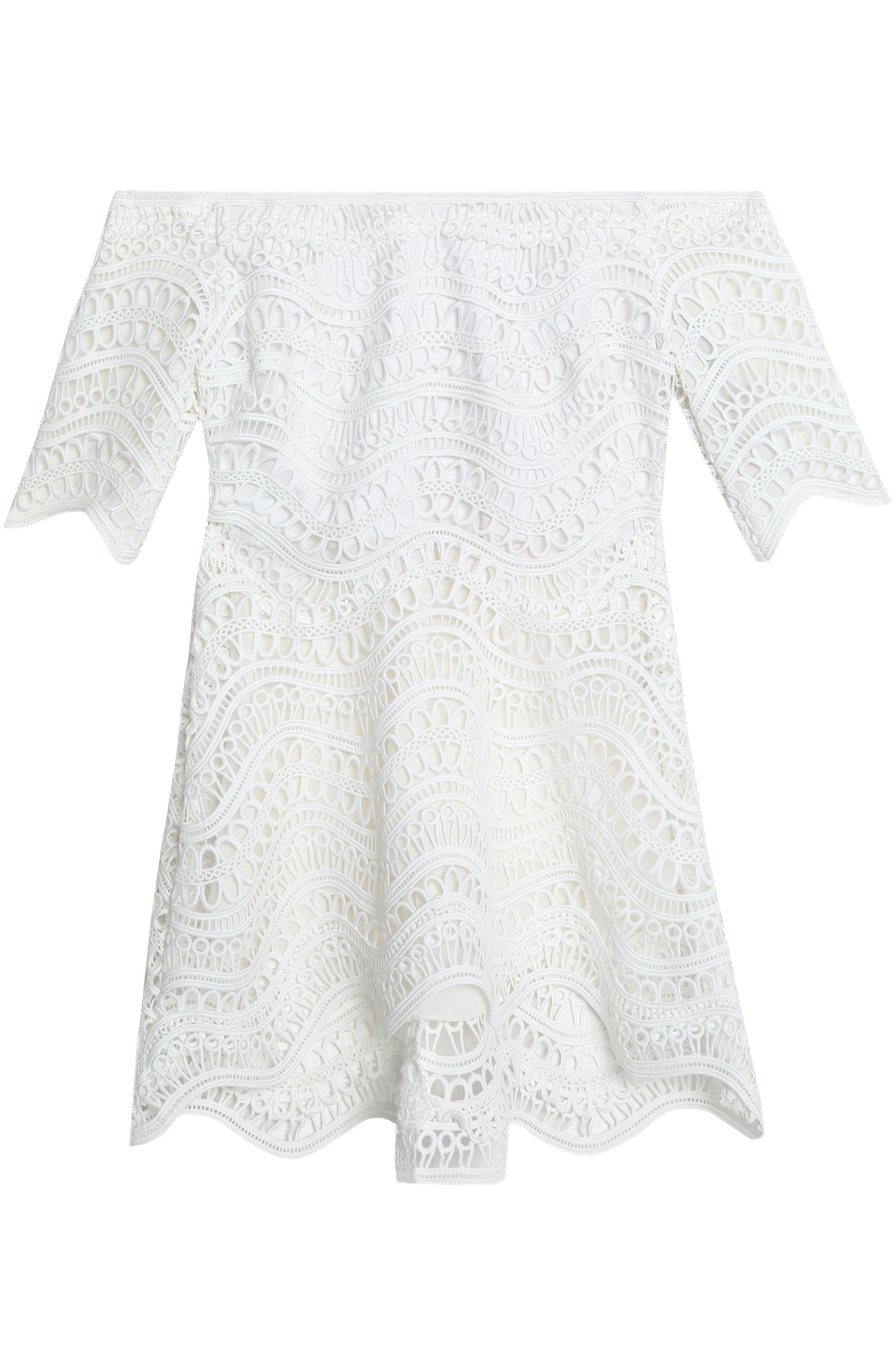 Lela Rose Woman Off-the-shoulder Guipure Lace Top White Size 6 Lela Rose Sneakernews Sale Online Discount Cost Sale Wholesale Price 2018 Newest Sale Online Free Shipping Looking For bbQRUCi