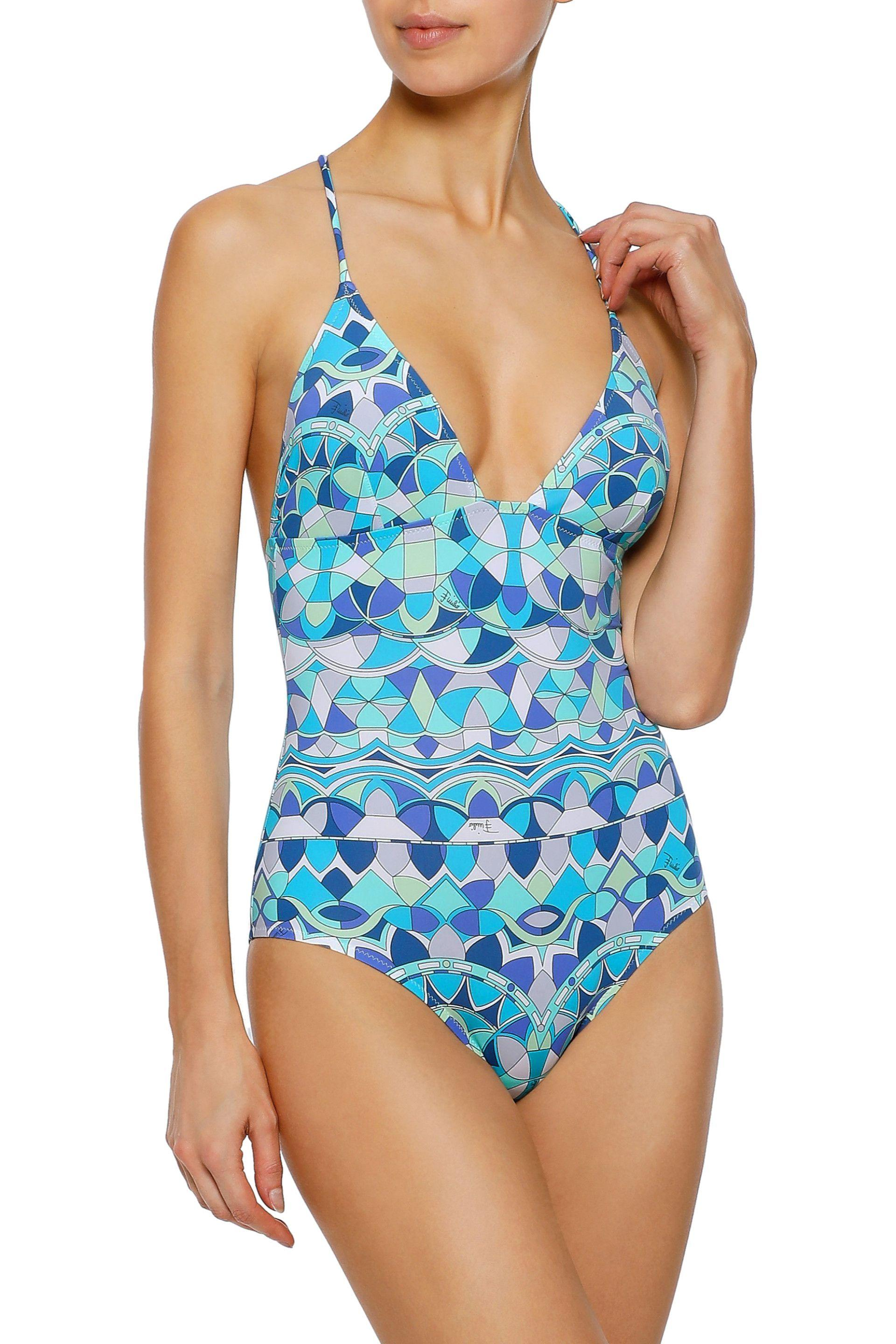 71d5d3bcf2a ... Blue Woman Ring-embellished Printed Swimsuit Turquoise - Lyst. View  fullscreen