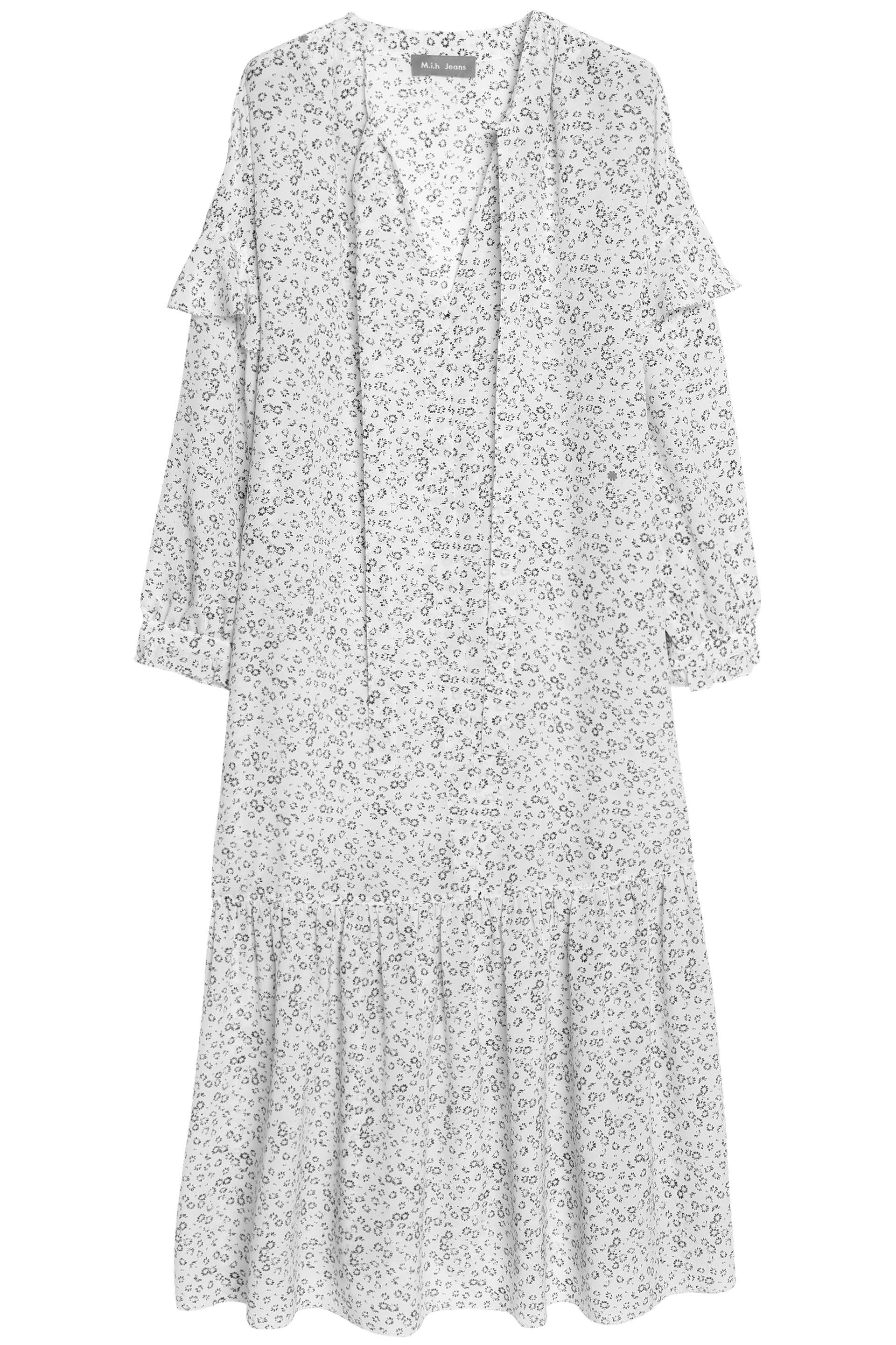 M.i.h Jeans Woman Erika Pussy-bow Floral-print Silk Midi Dress White Size XS Mih Jeans Inexpensive Discount Clearance Buy Cheap Eastbay 9afnaB
