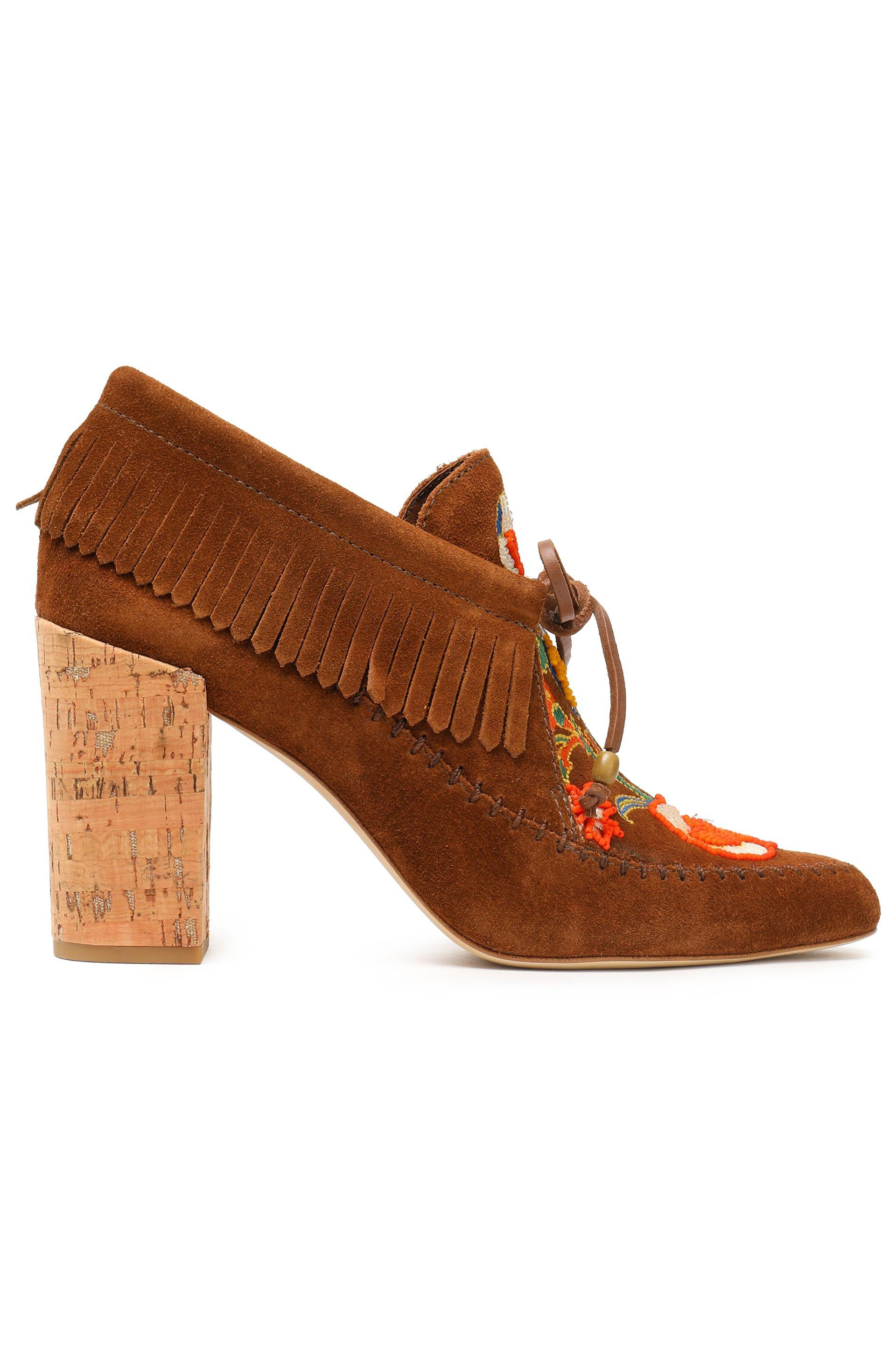 burch fringed suede ankle boots light brown in brown