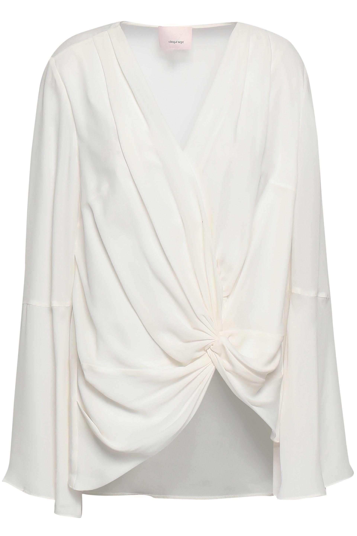 9e9a40a771ab Cinq À Sept. Women's White Woman Twist-front Silk Crepe De Chine Blouse  Ivory