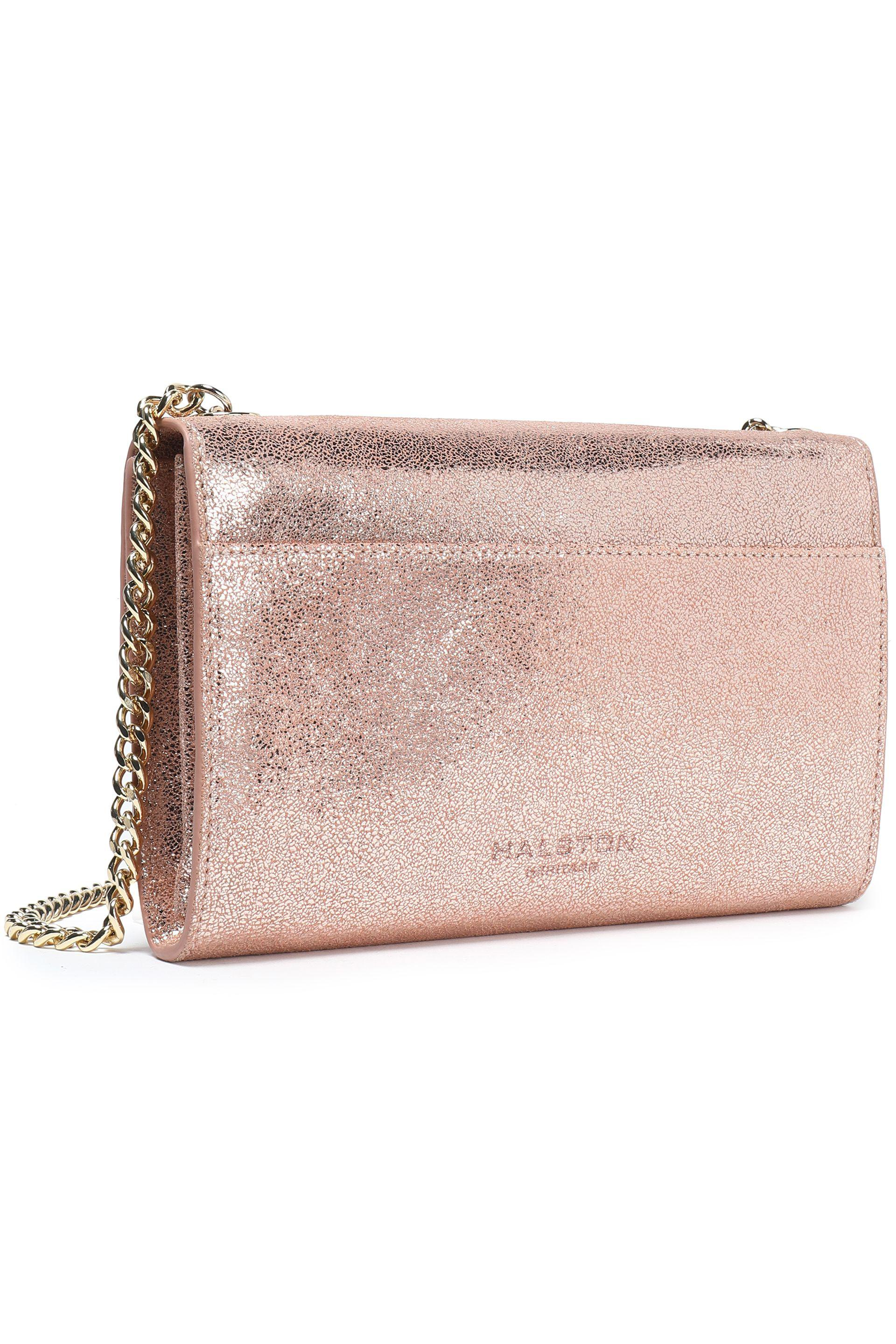 072551f31e6 Lyst - Halston Metallic Cracked-leather Shoulder Bag in Pink