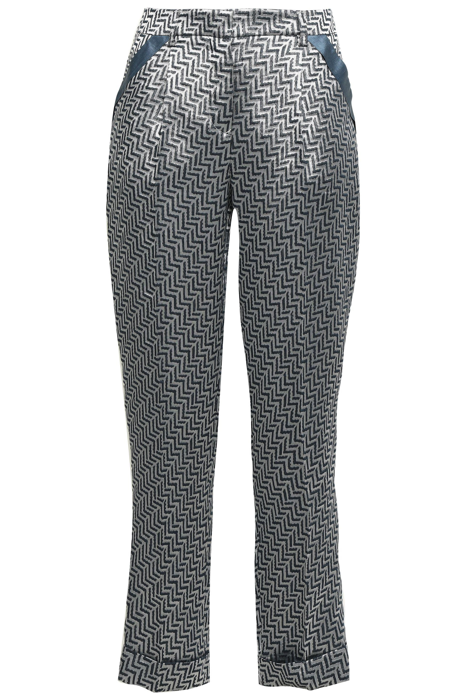 e3cce7d8bb Women's Gray Woman Jacquard Tapered Trousers Grey