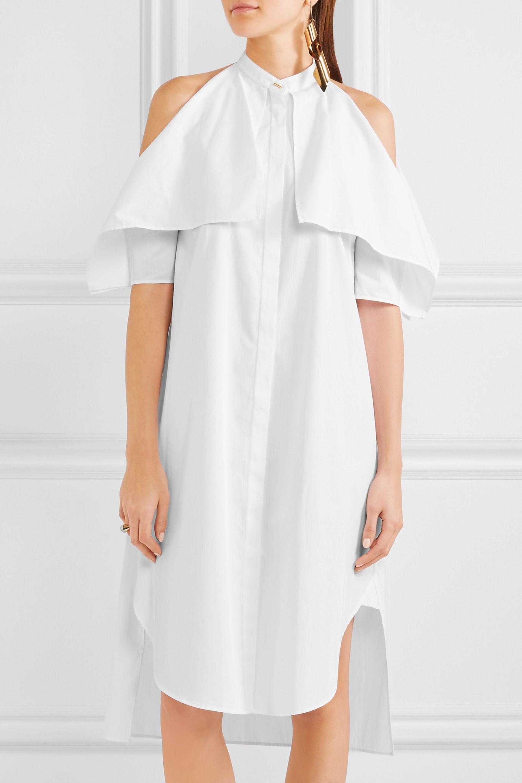 Belted Ruffled Cotton-poplin Midi Dress - White Rosetta Getty ov0Fn