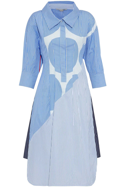 86bb0cdd Stella McCartney. Women's Woman Paneled Appliquéd Striped Cotton-poplin  Shirt Dress Sky Blue