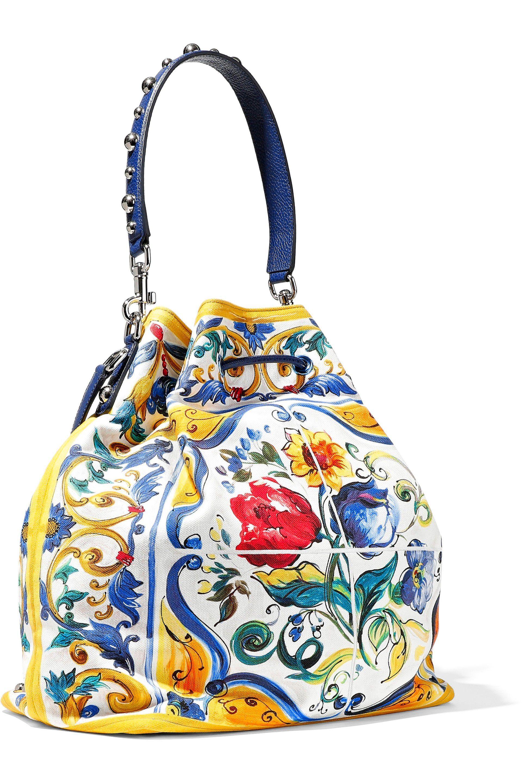 b5c53b68eec4 Lyst - Dolce   Gabbana Woman Embellished Floral-print Canvas Bucket ...