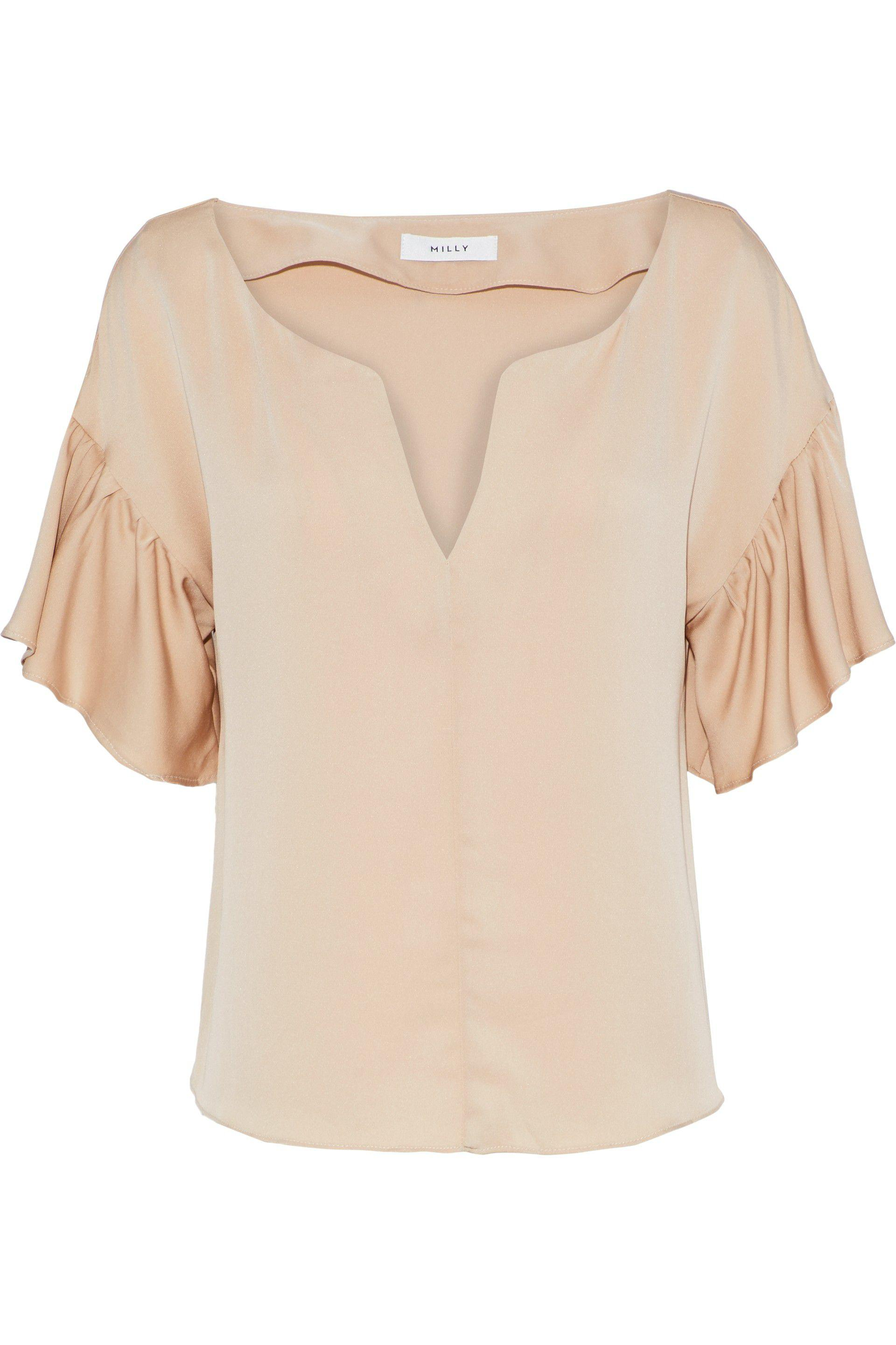3446bd2b393b3 Lyst - MILLY Gabby Ruffled Stretch-silk Blouse in Natural