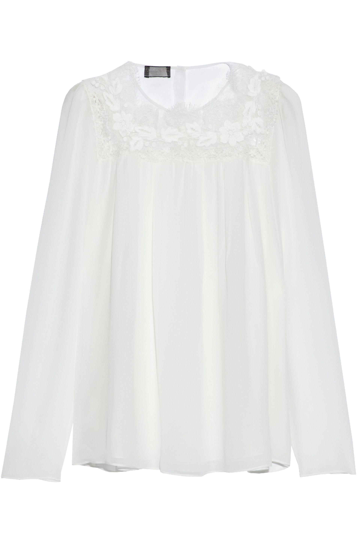 Giambattista Valli. Women's White Lace-paneled Silk-chiffon Blouse