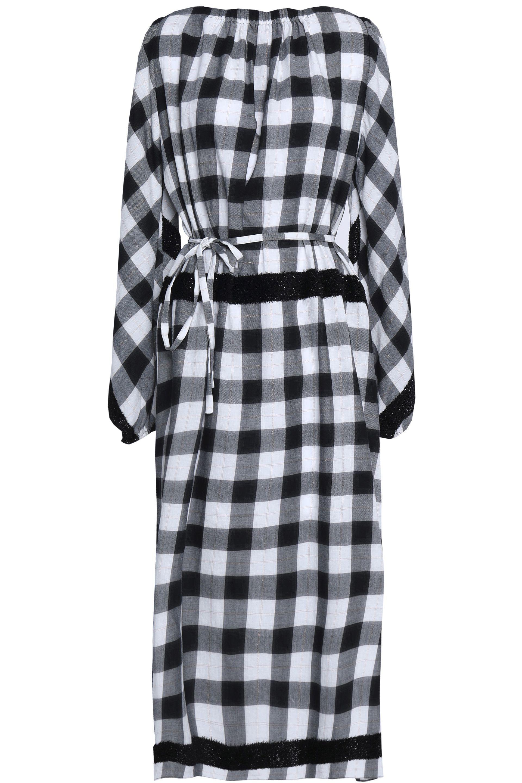 Sale Sale Online Find Great For Sale Tibi Woman Metallic Fringe-trimmed Gingham Cotton-blend Midi Dress Black Size M Tibi LmndGyX