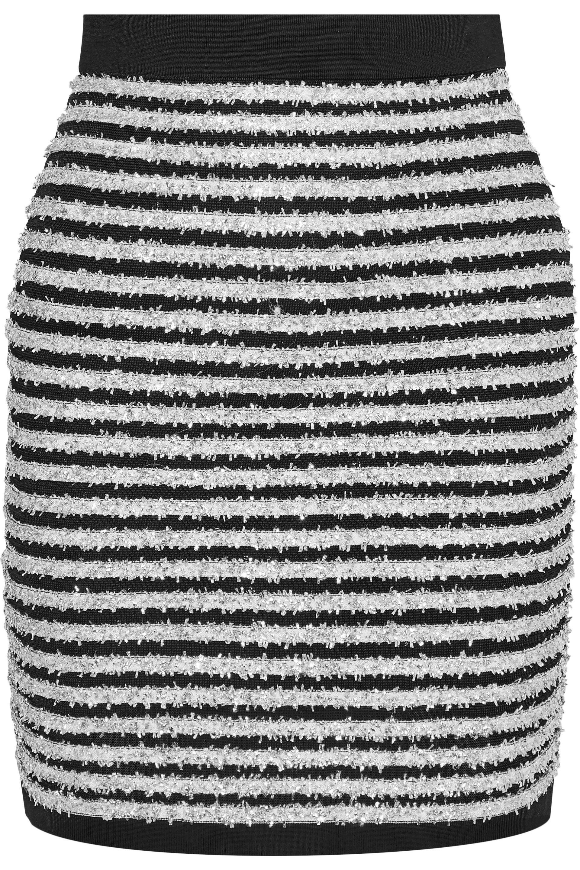 add4615a55 Balmain Woman Striped Tinsel And Stretch-knit Mini Skirt Silver in ...
