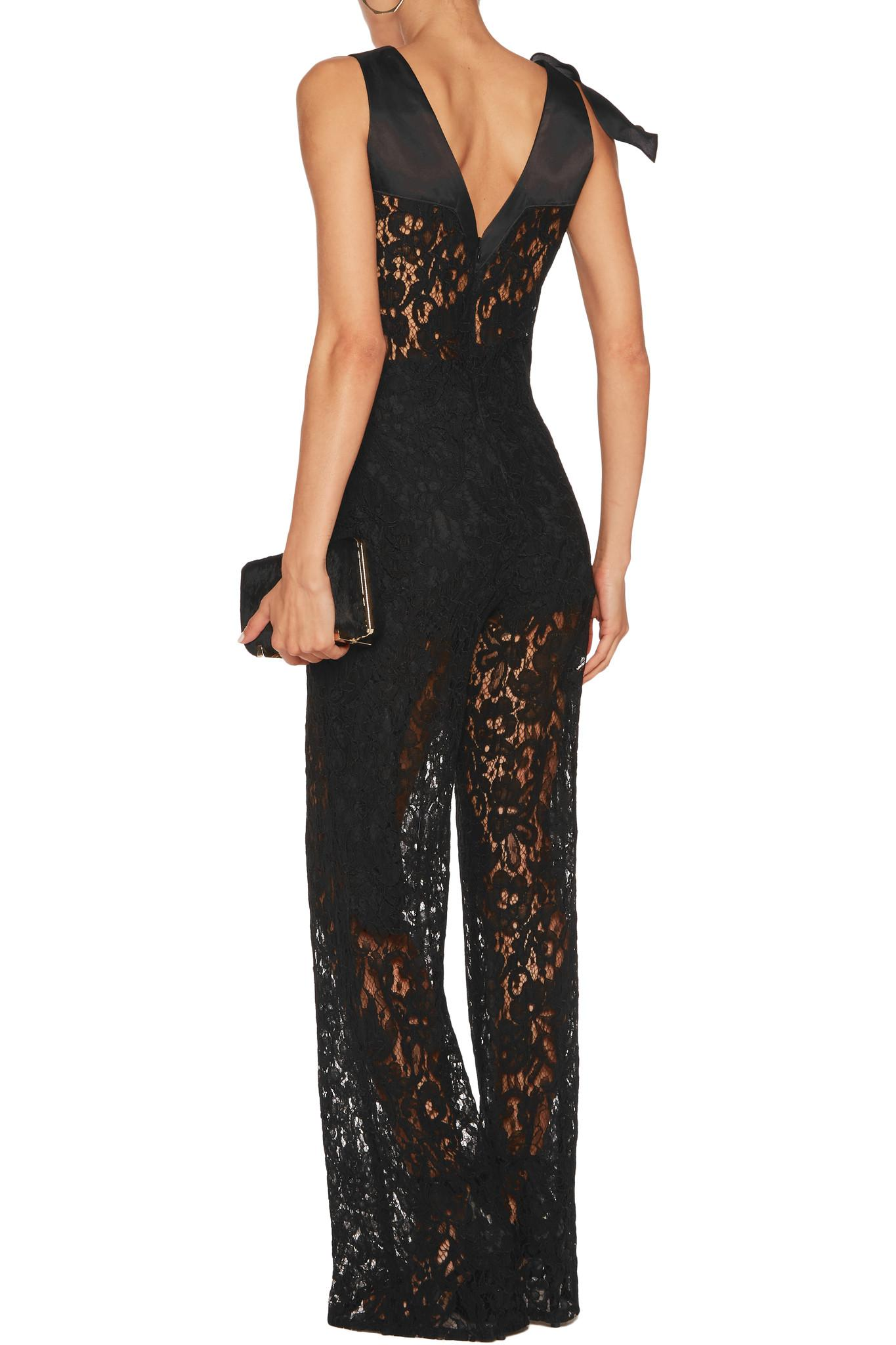 b767bf7173bd Lyst - Alexis Oscar Embroidered-lace Satin-paneled Jumpsuit in Black