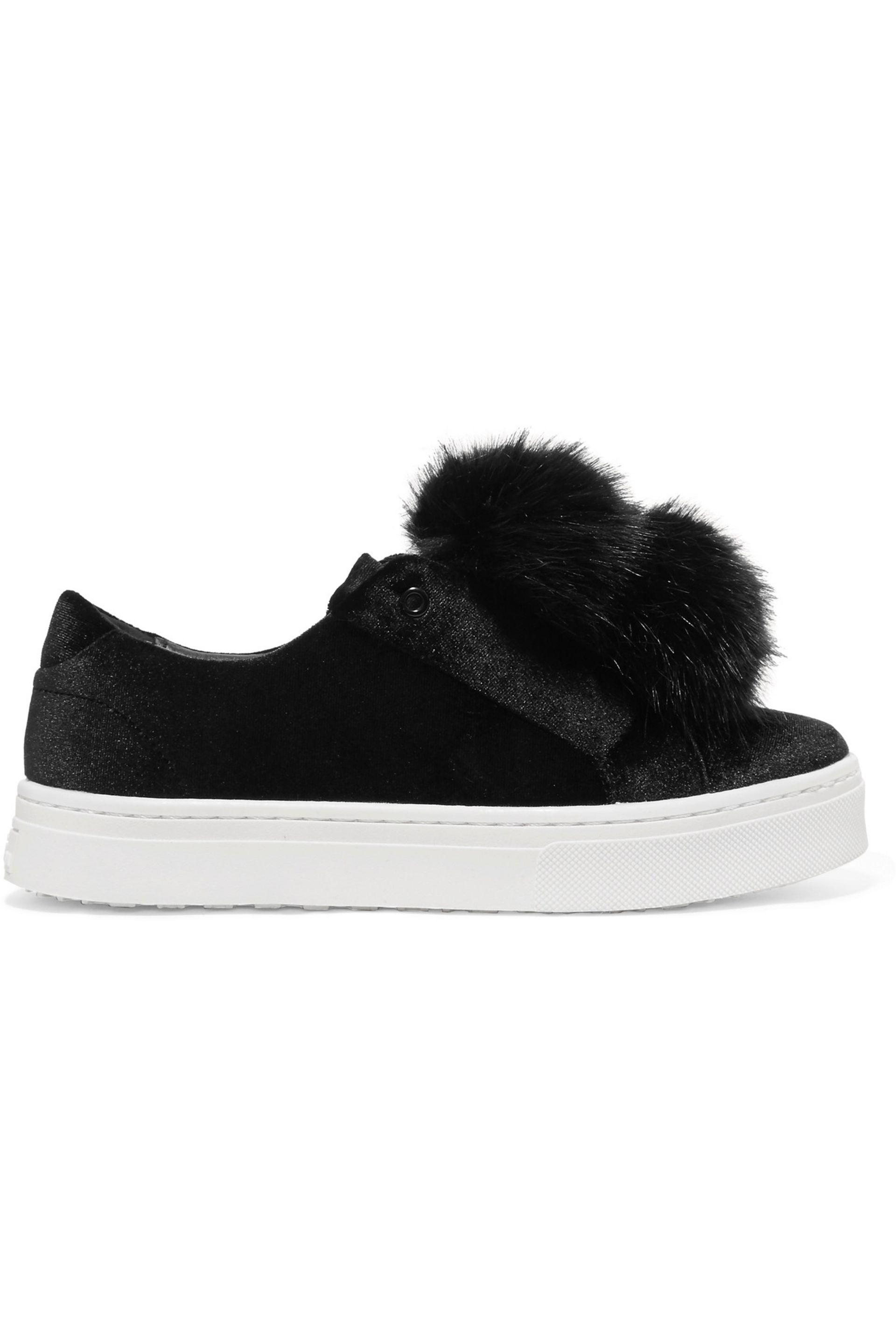 d1425c3b8002d8 Lyst - Sam Edelman Leya Faux Fur-embellished Velvet Slip-on Sneakers ...
