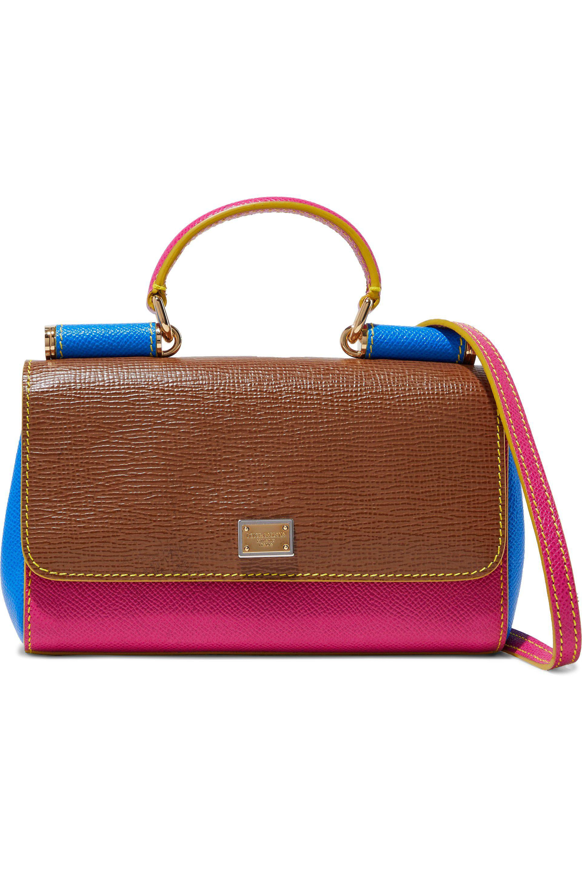 133816f590 Lyst - Dolce   Gabbana Miss Sicily Color-block Textured-leather ...