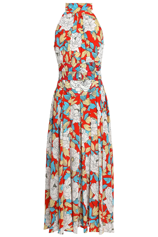 0bf70e428415 Diane von Furstenberg. Women s Red Floral-print Silk-twill Halterneck Midi  Dress