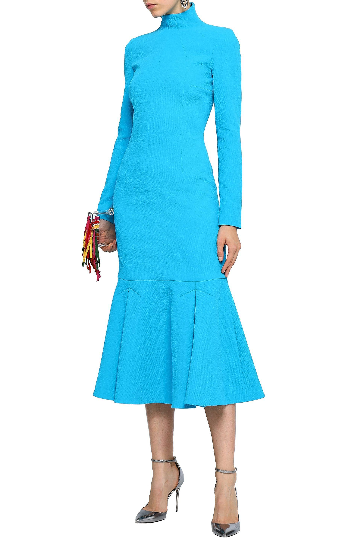 a737d405b3a4 Lyst - Emilia Wickstead Woman Fluted Crepe Turtleneck Midi Dress ...
