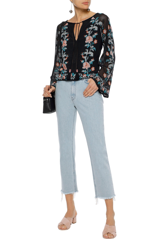 b97a3692fbb929 Love Sam - Woman Embroidered Mesh-paneled Cotton-gauze Blouse Black - Lyst.  View fullscreen