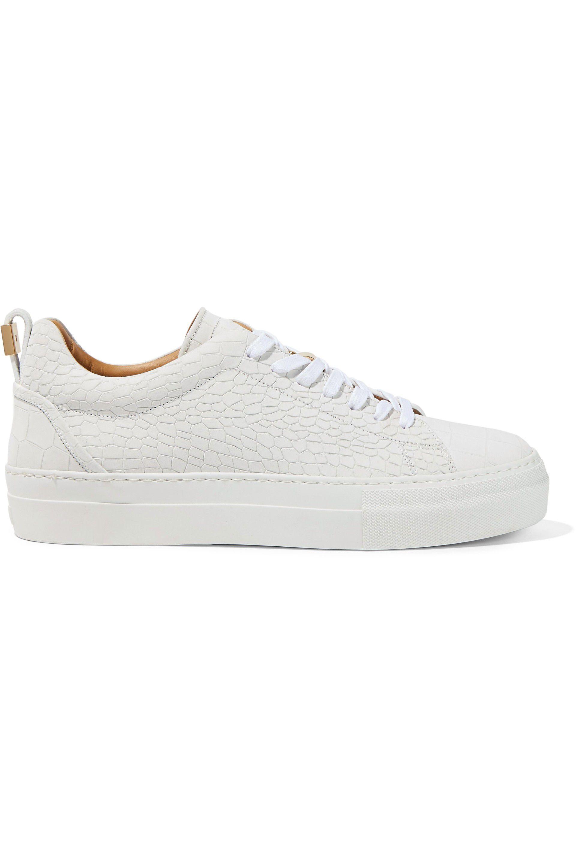 e077584b5d00e5 Lyst - Buscemi Woman Croc-effect Leather Sneakers Off-white in White