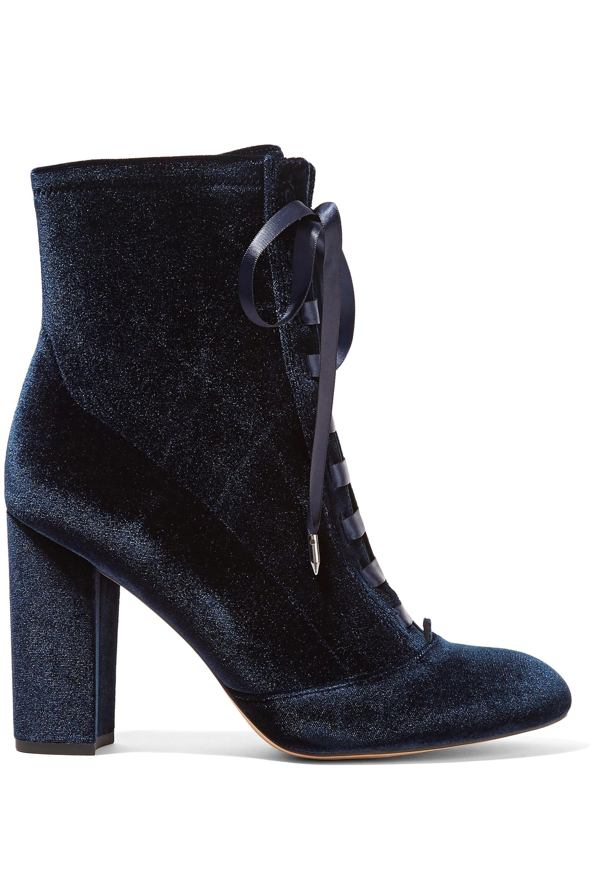 bdbffc37722be Sam Edelman Clementine Lace-up Velvet Ankle Boots in Blue - Save ...
