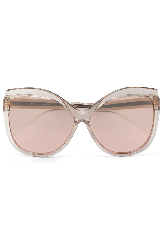 c4b40baf780 Linda Farrow Woman Cat-eye Acetate Mirrored Sunglasses Rose Gold - Lyst