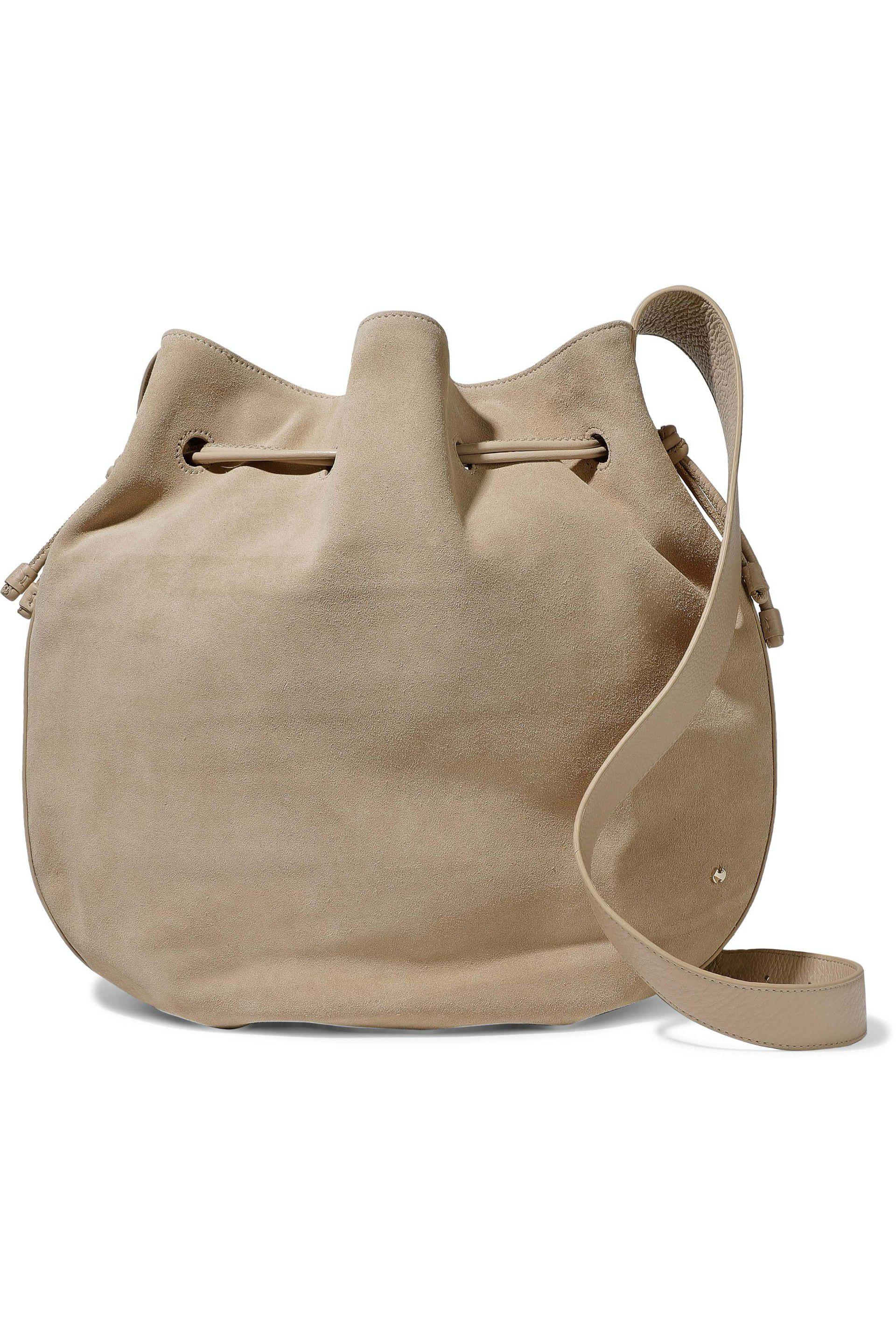 f6da3ffee8ec Halston Leather-trimmed Suede Bucket Bag in Natural - Lyst