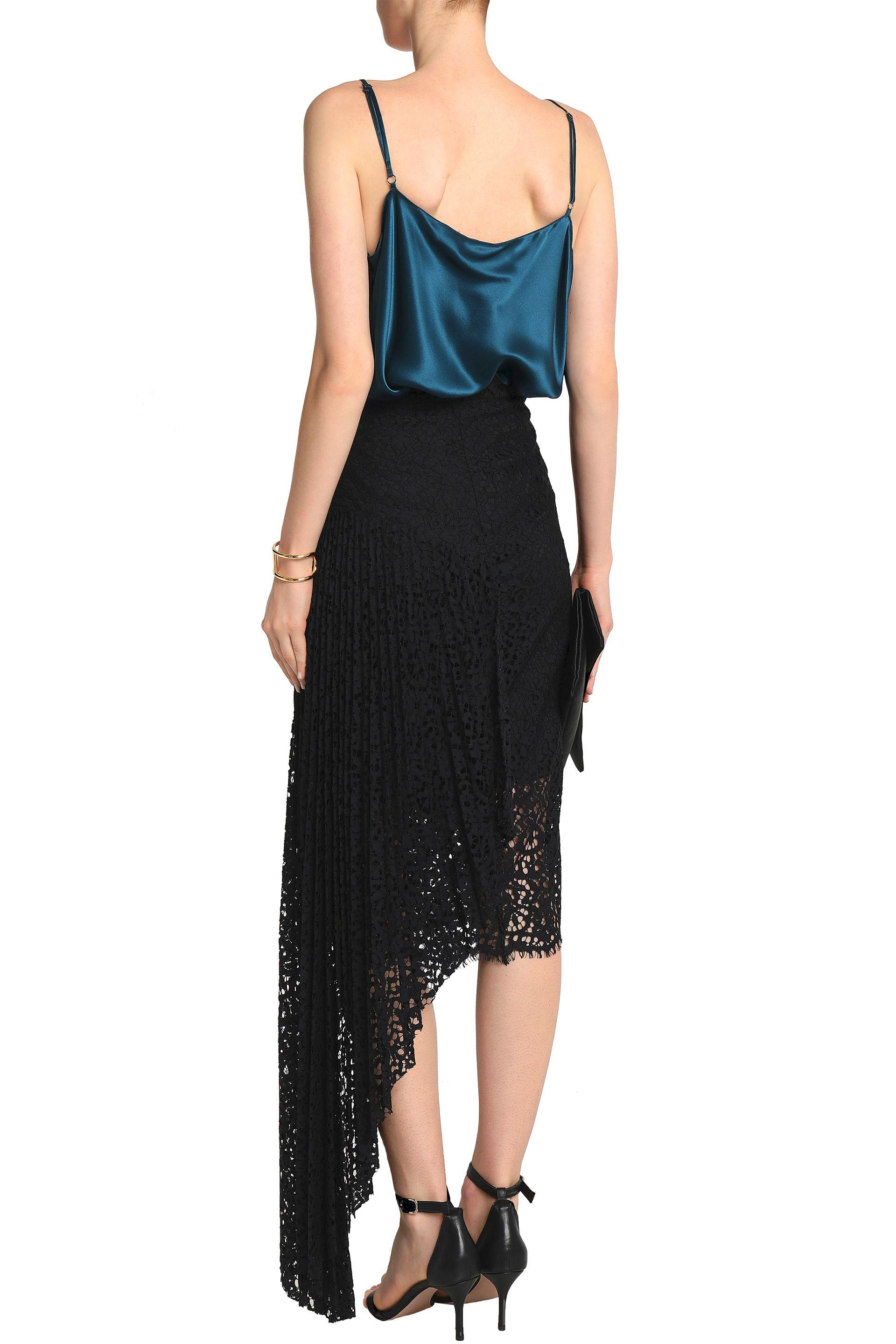 c8496388af MILLY Woman Asymmetric Pleated Corded Lace Skirt Black in Black - Lyst