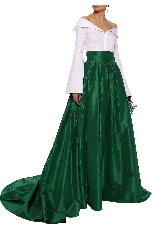 21c875f77a Carolina Herrera - Green Woman Pleated Silk-taffeta Maxi Skirt Emerald -  Lyst. View fullscreen