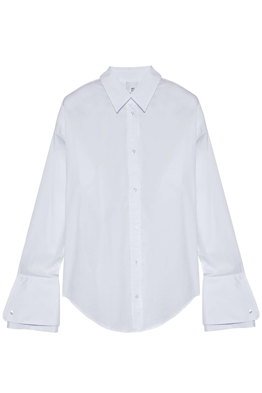 Iris & Ink. Women's White Lucille Stretch Cotton-poplin Shirt