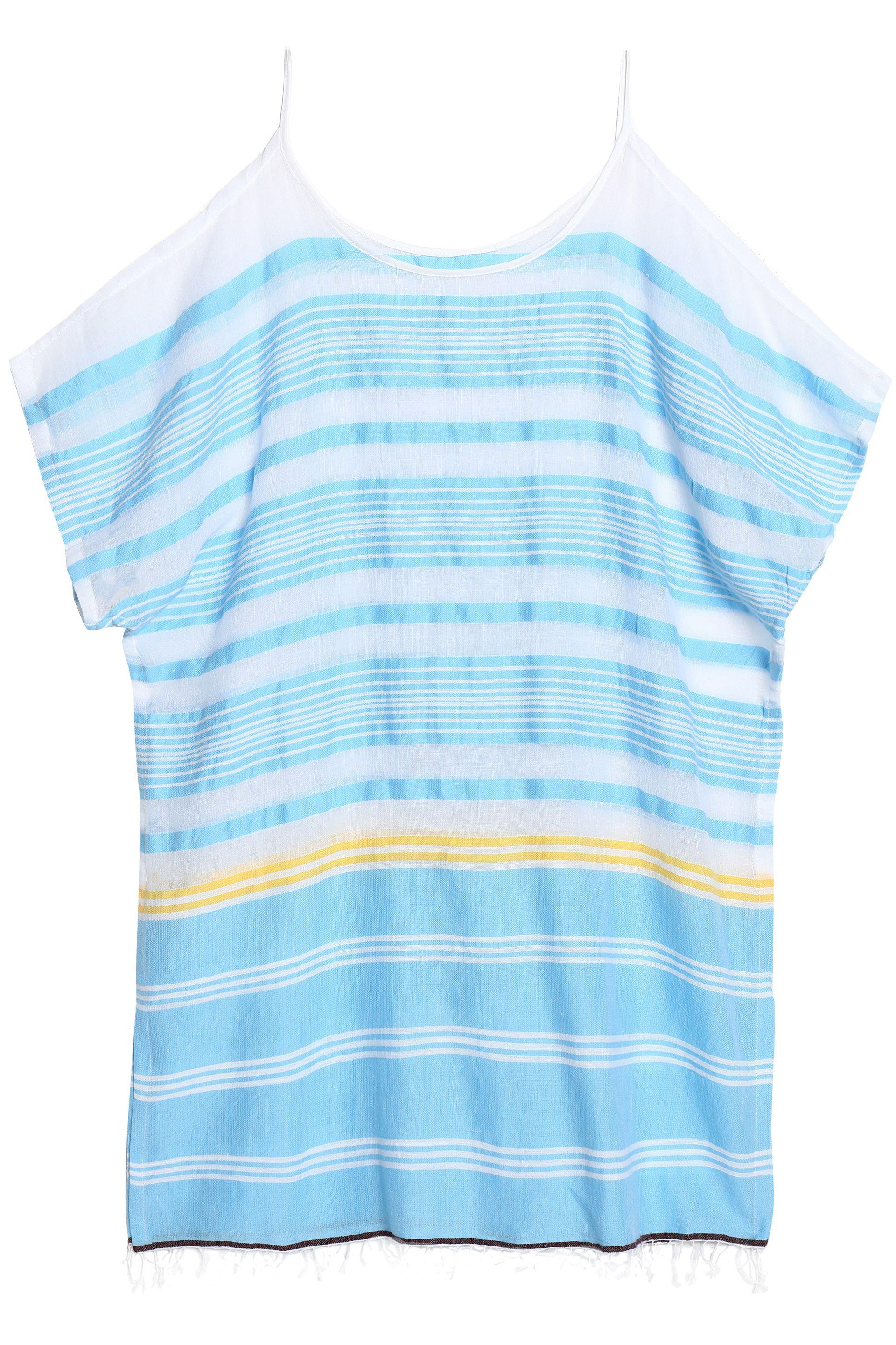 Lemlem Woman Cold-shoulder Striped Cotton-blend Gauze Coverup Light Blue Size L Lemlem Cheapest Free Shipping Looking For Many Kinds Of For Sale Purchase Cheap Online tHgsqzNYzO