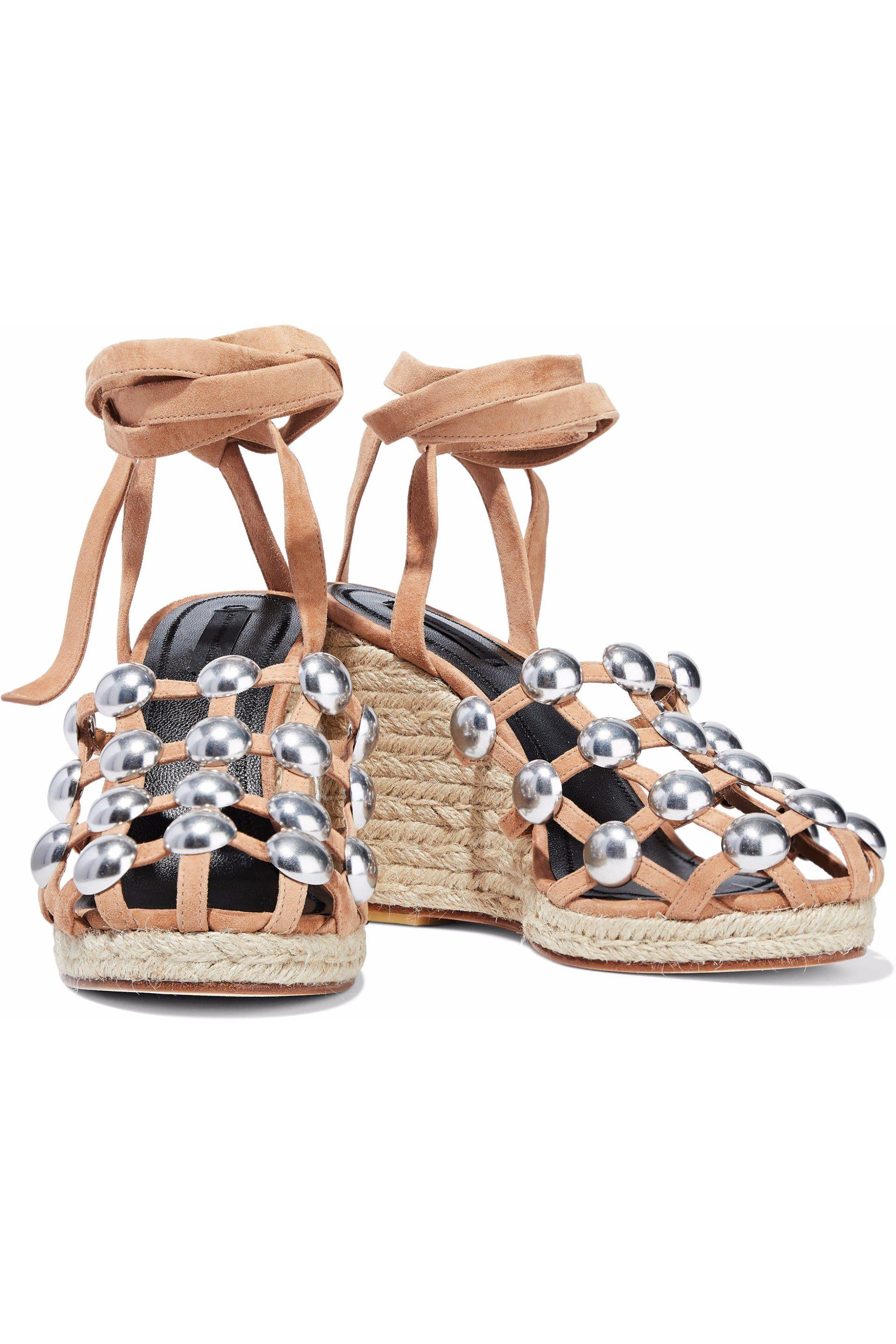 ddb7df33418e Alexander Wang - Multicolor Woman Taylor Studded Suede Espadrille Wedge  Sandals Sand - Lyst. View fullscreen