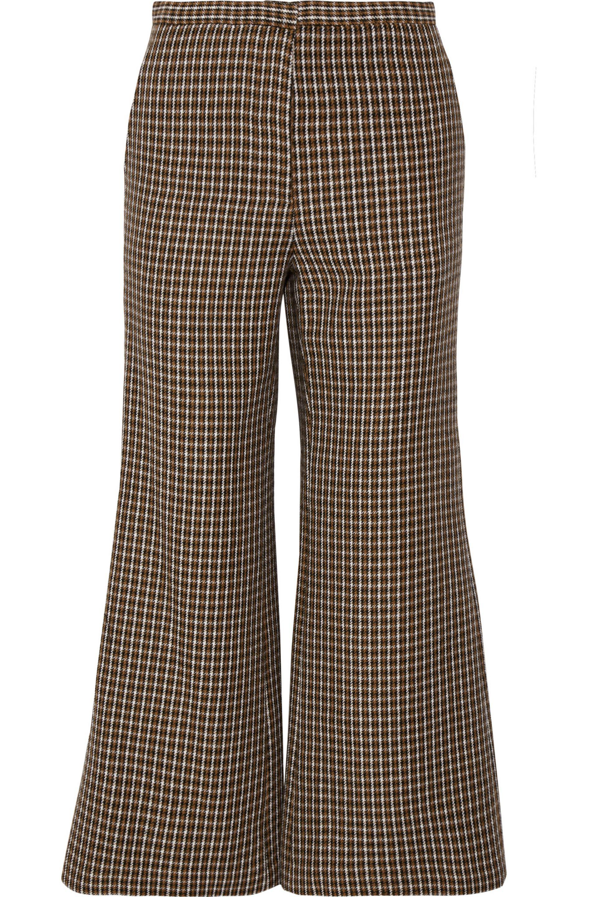 Rosetta Getty. Women's Brown Cropped Houndstooth Wool Flared Trousers