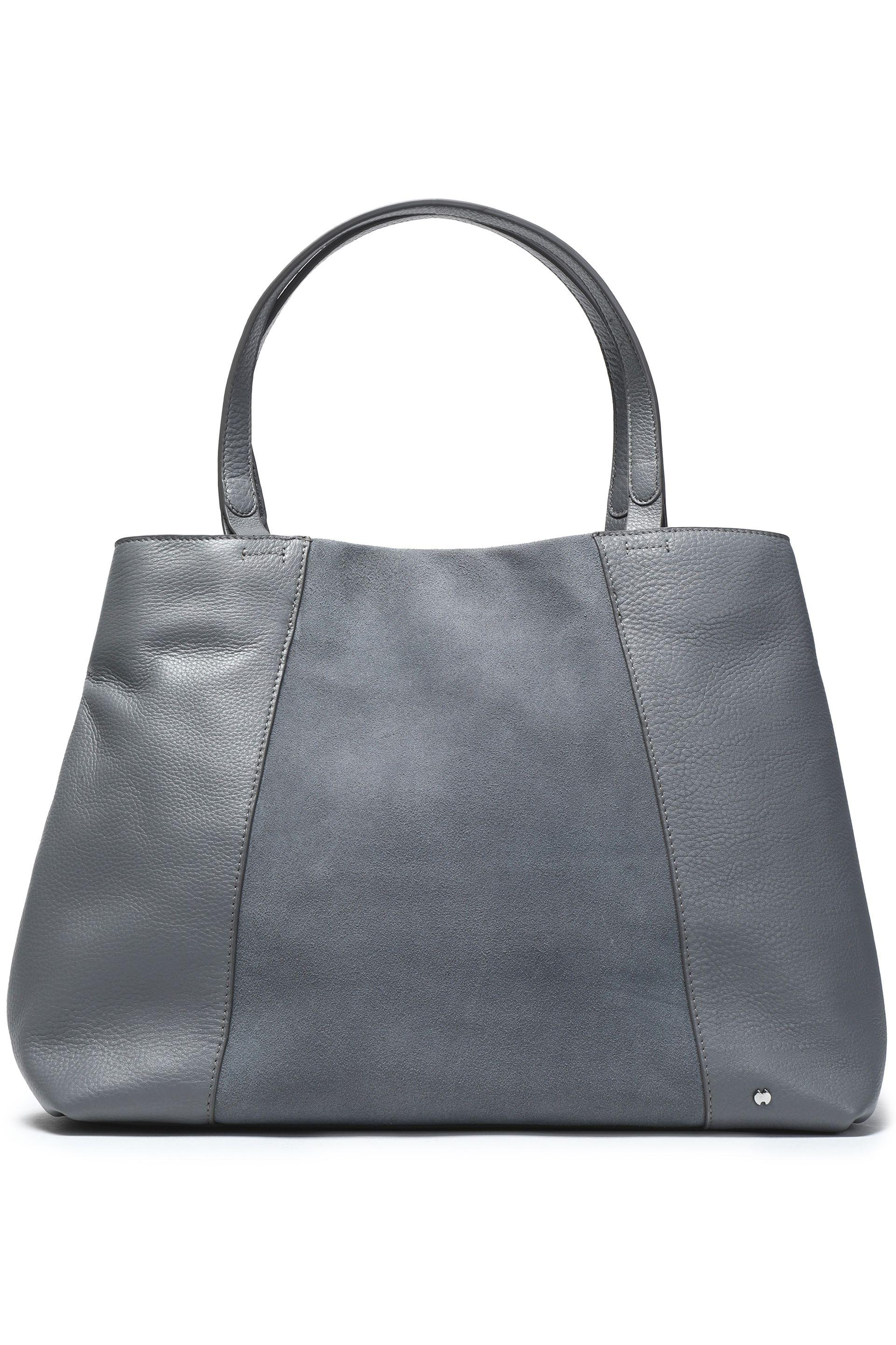 bbf62651e2 Halston Woman Suede-paneled Textured-leather Tote Gray in Gray - Lyst