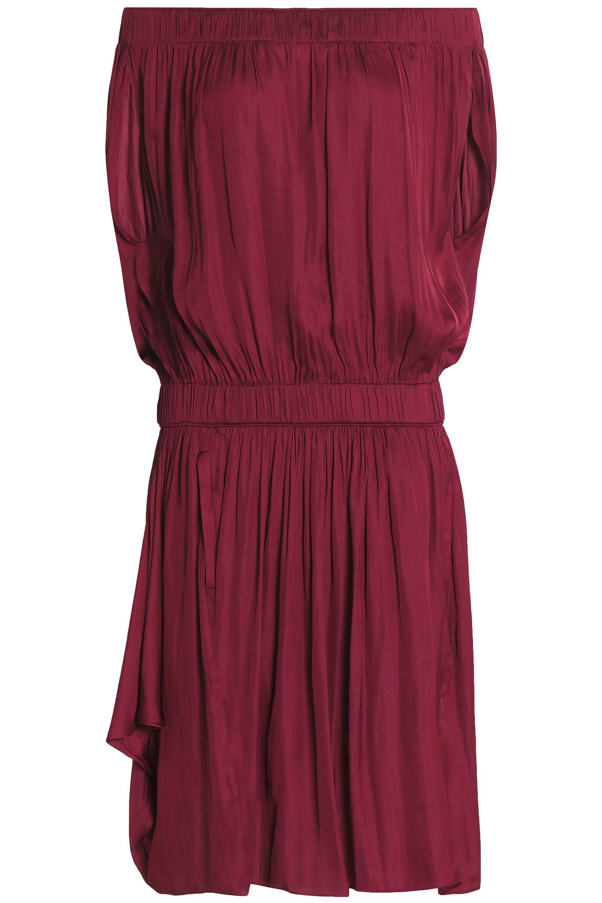 Cheap Sale Footaction Clearance Best Wholesale Halston Heritage Woman Off-the-shoulder Gathered Sateen Dress Merlot Size XL Halston Heritage New And Fashion Shopping Discounts Online LhH0PRn