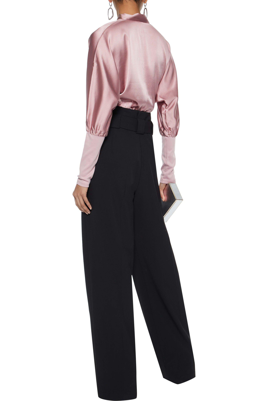 2018 New Online Professional  Fleur Du Mal Woman Pussy-bow Silk-blend Satin And Ponte Bodysuit Lilac Size M Fleur du Mal GSxJbM